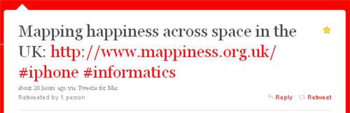Mappiness tweet